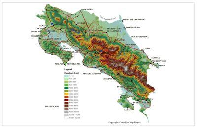 Costa Rica Topo Map - Copyright: Costa Rica Map Project