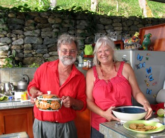 Frank Thompson and Jan Hart in their outdoor kitchen